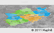 Political Panoramic Map of Nordrhein-Westfalen, desaturated