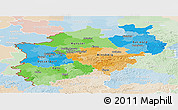 Political Panoramic Map of Nordrhein-Westfalen, lighten