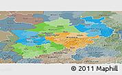 Political Panoramic Map of Nordrhein-Westfalen, semi-desaturated