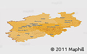 Political Shades Panoramic Map of Nordrhein-Westfalen, cropped outside