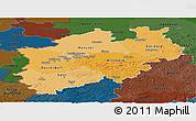 Political Shades Panoramic Map of Nordrhein-Westfalen, darken