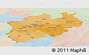 Political Shades Panoramic Map of Nordrhein-Westfalen, lighten