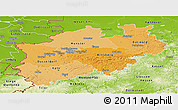 Political Shades Panoramic Map of Nordrhein-Westfalen, physical outside