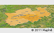 Political Shades Panoramic Map of Nordrhein-Westfalen, satellite outside