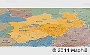 Political Shades Panoramic Map of Nordrhein-Westfalen, semi-desaturated