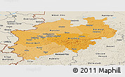 Political Shades Panoramic Map of Nordrhein-Westfalen, shaded relief outside
