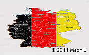 Flag Panoramic Map of Germany, flag aligned to the middle