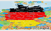 Flag Panoramic Map of Germany, political outside