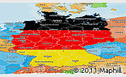 Flag Panoramic Map of Germany, political shades outside