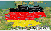 Flag Panoramic Map of Germany, satellite outside