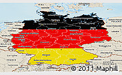 Flag Panoramic Map of Germany, shaded relief outside