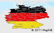 Flag Panoramic Map of Germany, single color outside, bathymetry sea