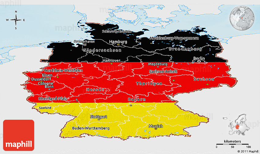 Flag Panoramic Map of Germany, single color outside ...