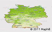 Physical Panoramic Map of Germany, cropped outside