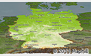 Physical Panoramic Map of Germany, darken