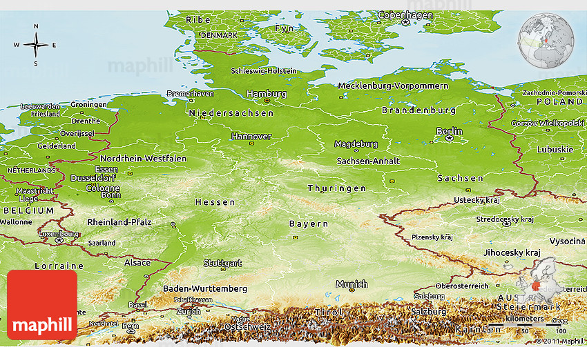 physical panoramic map of germany