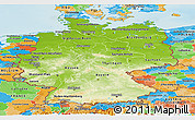 Physical Panoramic Map of Germany, political outside, shaded relief sea