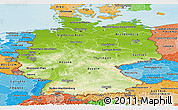 Physical Panoramic Map of Germany, political shades outside, shaded relief sea