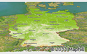 Physical Panoramic Map of Germany, satellite outside