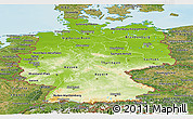 Physical Panoramic Map of Germany, satellite outside, shaded relief sea