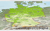 Physical Panoramic Map of Germany, semi-desaturated, land only