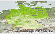 Physical Panoramic Map of Germany, semi-desaturated