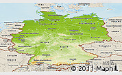 Physical Panoramic Map of Germany, shaded relief outside