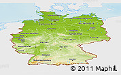 Physical Panoramic Map of Germany, single color outside