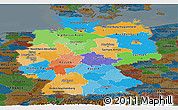 Political Panoramic Map of Germany, darken