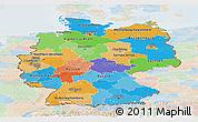 Political Panoramic Map of Germany, lighten