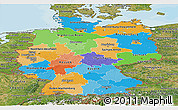 Political Panoramic Map of Germany, satellite outside, bathymetry sea