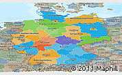 Political Panoramic Map of Germany, semi-desaturated, land only