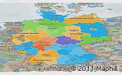 Political Panoramic Map of Germany, semi-desaturated