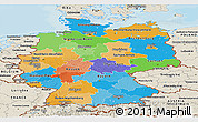 Political Panoramic Map of Germany, shaded relief outside, bathymetry sea
