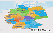 Political Panoramic Map of Germany, single color outside