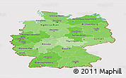 Political Shades Panoramic Map of Germany, cropped outside