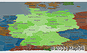 Political Shades Panoramic Map of Germany, darken