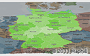 Political Shades Panoramic Map of Germany, darken, semi-desaturated