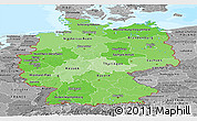 Political Shades Panoramic Map of Germany, desaturated, land only