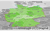 Political Shades Panoramic Map of Germany, desaturated