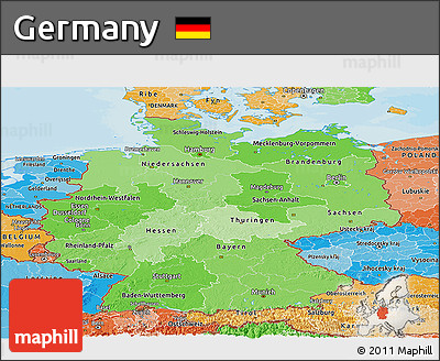 Political Shades Panoramic Map of Germany