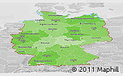 Political Shades Panoramic Map of Germany, lighten, desaturated