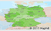 Political Shades Panoramic Map of Germany, lighten, land only