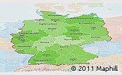 Political Shades Panoramic Map of Germany, lighten