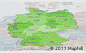 Political Shades Panoramic Map of Germany, lighten, semi-desaturated