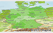 Political Shades Panoramic Map of Germany, physical outside