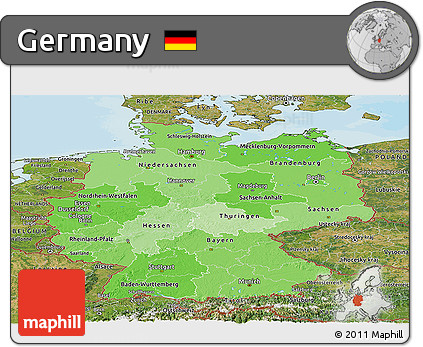 Political Shades Panoramic Map of Germany, satellite outside, bathymetry sea