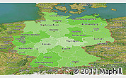 Political Shades Panoramic Map of Germany, satellite outside