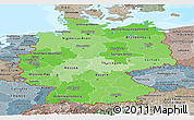 Political Shades Panoramic Map of Germany, semi-desaturated, land only