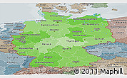 Political Shades Panoramic Map of Germany, semi-desaturated